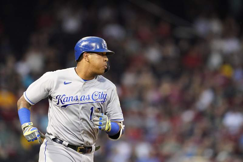 Kansas City Royals' Salvador Perez runs after hitting a solo home run during the second inning of the team's baseball game against the Boston Red Sox at Fenway Park, Wednesday, June 30, 2021, in Boston. (AP Photo/Elise Amendola)