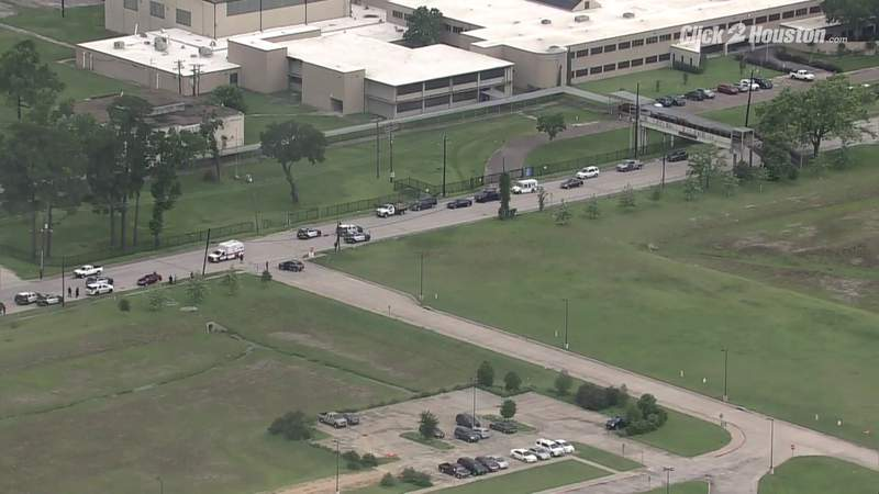 Sky 2 over North Forest High School after student shot in hand
