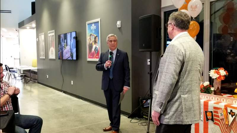 Bill Balleza thanks KPRC Channel 2 Vice President and General Manager Jerry Martin for his service as he retires after 49 years serving KPRC.