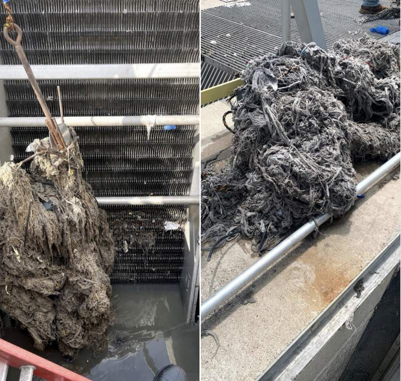 """Images were shared on Facebook by League City Government of what happens when so-called """"flushable"""" wipes are flushed down the toilet."""