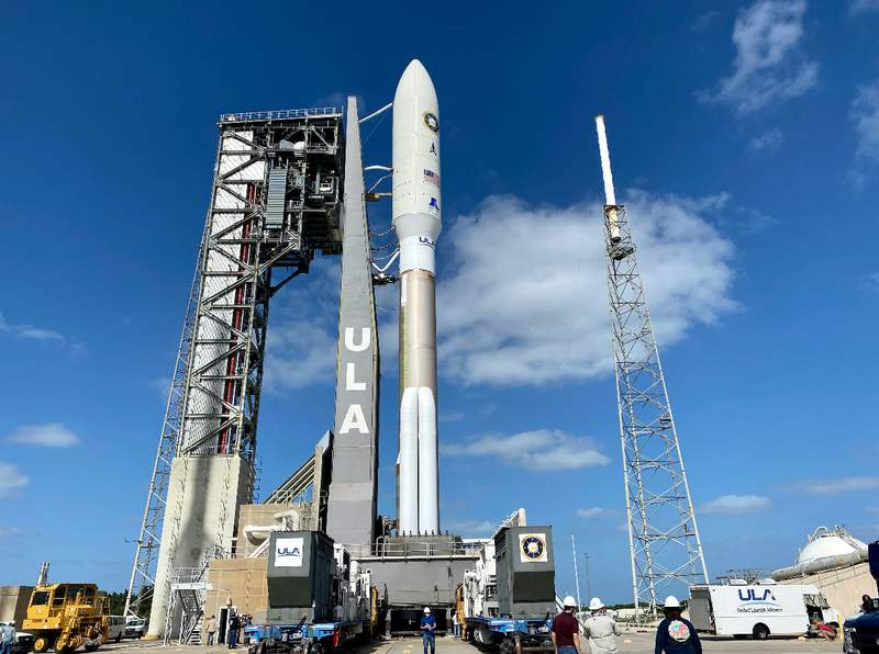 ULA's Atlas V vertical at Cape Canaveral (Twitter: @ulalaunch)