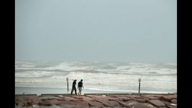 Harvey's torrential rain was causing flooding Saturday in Galveston, Texas. Photo by Scott Olson/Getty Images