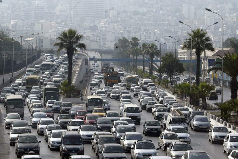 FILE  - In this Sept. 29, 2010 file photo a view of a traffic jam in Algiers, Algeria. Leaded gasoline has finally reached the end of the road, the United Nations environment office said Monday, Aug. 30, 2021 after the last country in the world to use it stopped selling the highly toxic fuel. (AP Photo/Anis Belghoul, file)