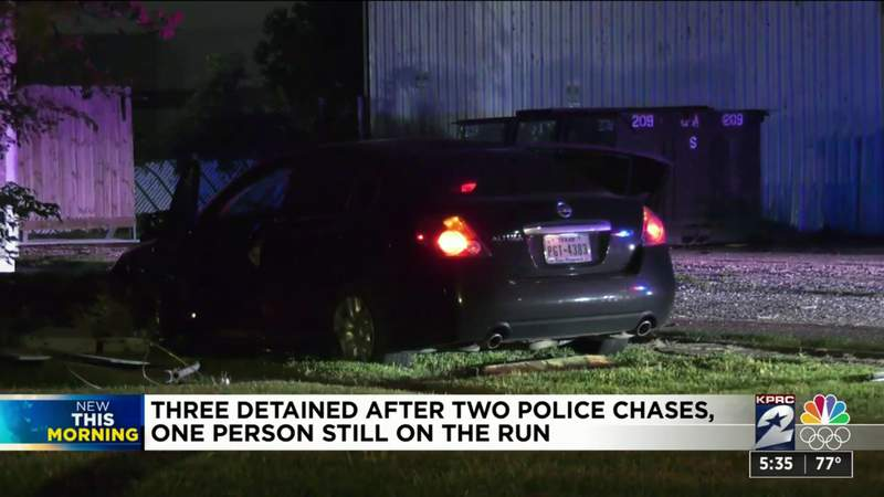 3 detained after 2 police chases, 1 person still on the run, officers say