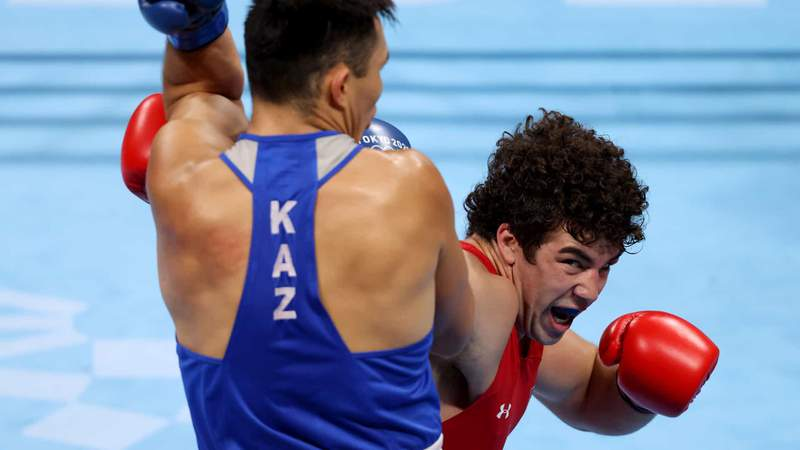 Richard Torrez Jr. attacks in his super heavyweight semifinal Wednesday at the Tokyo Olympics