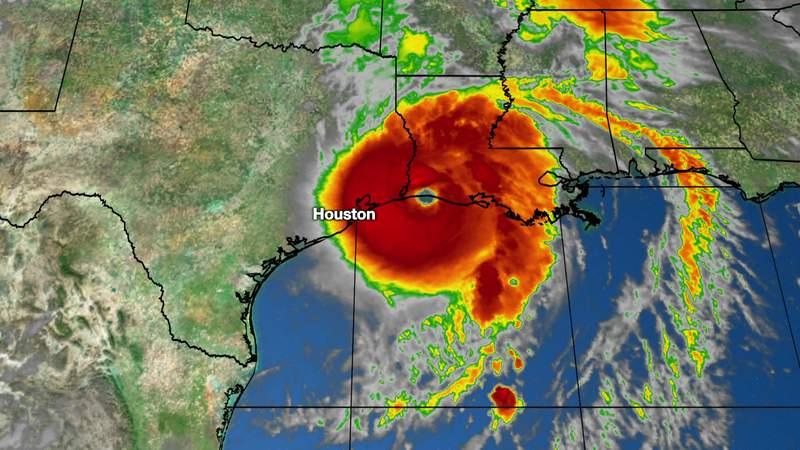 A satellite image shows Hurricane Laura making landfall near Cameron, Louisiana, as a Category 4 hurricane on Aug. 27, 2020.
