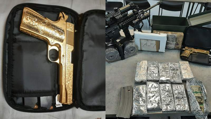 Officers seize gold-plated pistol, nearly $44,000 in cash and 2 kilos of cocaine after routine traffic stop
