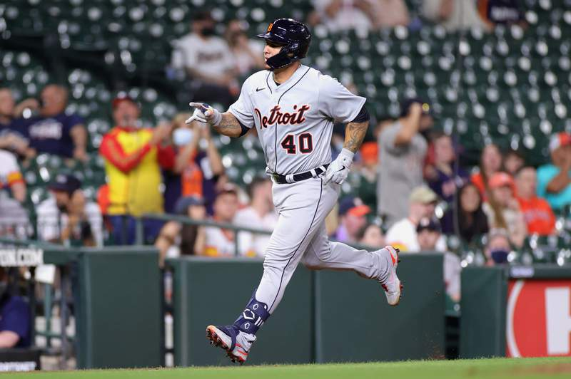 Wilson Ramos #40 of the Detroit Tigers runs home on his solo home run in the ninth inning against the Houston Astros at Minute Maid Park on April 13, 2021 in Houston, Texas.