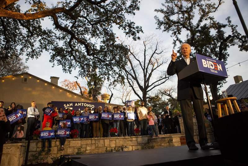 Democratic presidential candidate and former Vice President Joe Biden speaks at a community event in San Antonio on Dec. 13, 2019.                    Credit: Eddie Gaspar/The Texas Tribune