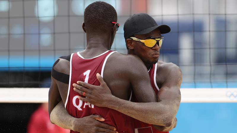 Qatar's Cherif Younousse and Ahmed Tijan at the 2020 Tokyo Olympics.