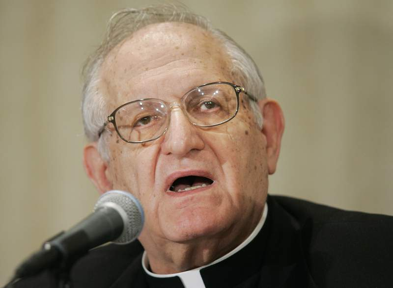 Archbishop Joseph A. Fiorenza, Archbishop of Galveston-Houston, Tx., speaks to the media during a news conference at the conclusion of the morning session of the U.S. Conference of Catholic Bishops' annual general assembly, Tuesday, Nov. 15, 2005, in Washington.