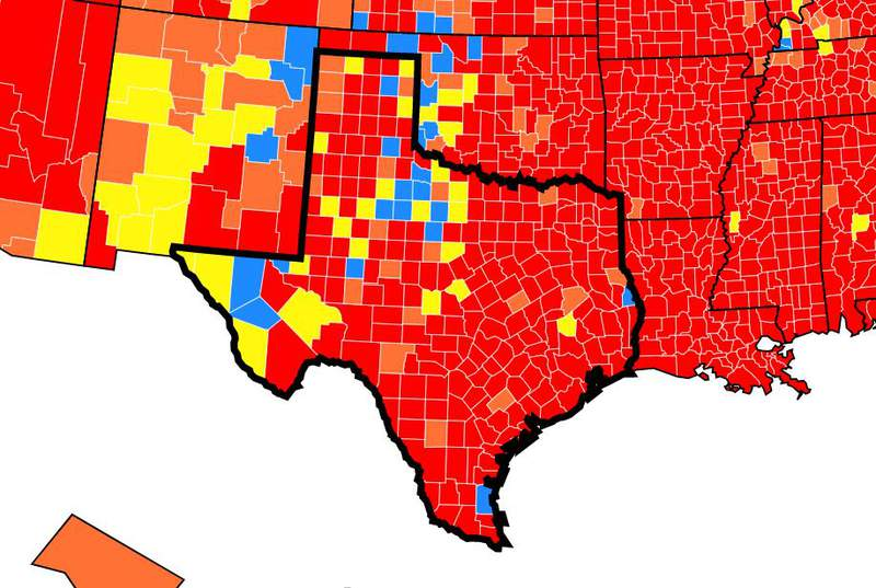 CDC's COVID Data Tracker weekly review in Texas.