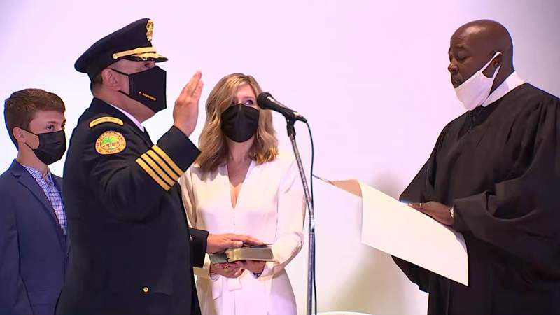 Former Houston police Chief Art Acevedo takes the oath of office to become the new Chief of Police in Miami, Florida, on April 5, 2021.
