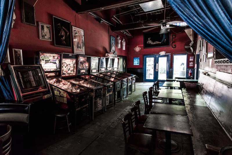 Pinball machines at Houston bar Poison Girl.