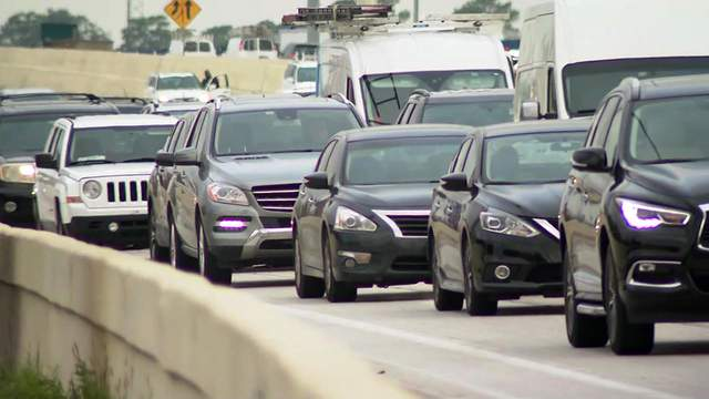 Traffic moves along a freeway in Houston on Sept. 6, 2017. (KPRC)
