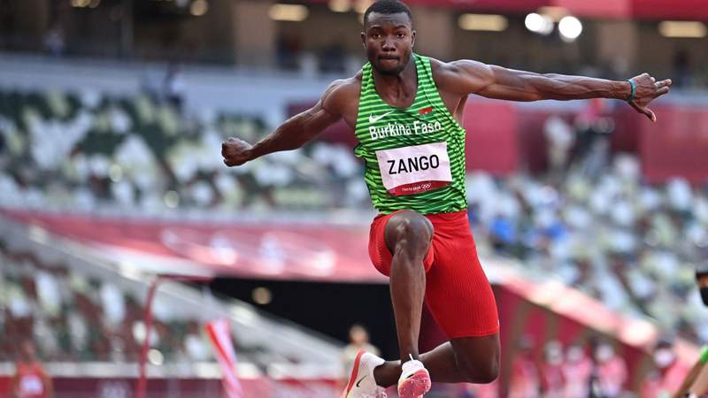Burkina Faso's Hugues Fabrice Zango competes in the men's triple jump final during the Tokyo 2020 Olympic Games