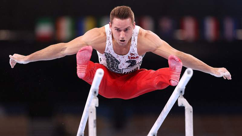 Team USA veteran Sam Mikulak hit a clutch parallel bars routine to advance to the event final.