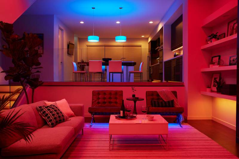 Home with smart color bulbs