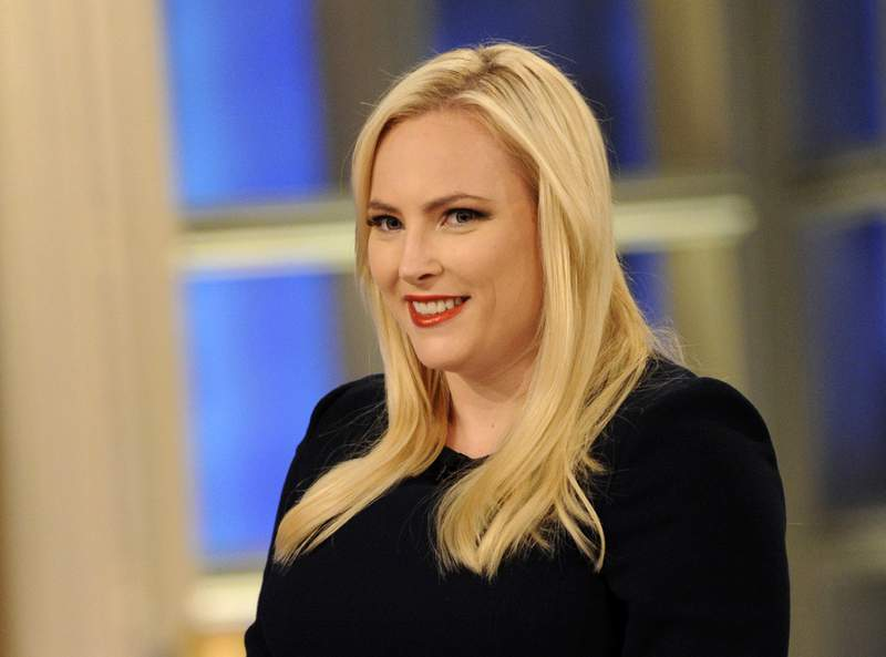 """This July 17, 2018 image released ABC shows Meghan McCain on the set of """"The View,"""" in New York. McCain made a low-key departure from The View after four years on Friday. (Paula Lobo /ABC via AP)"""