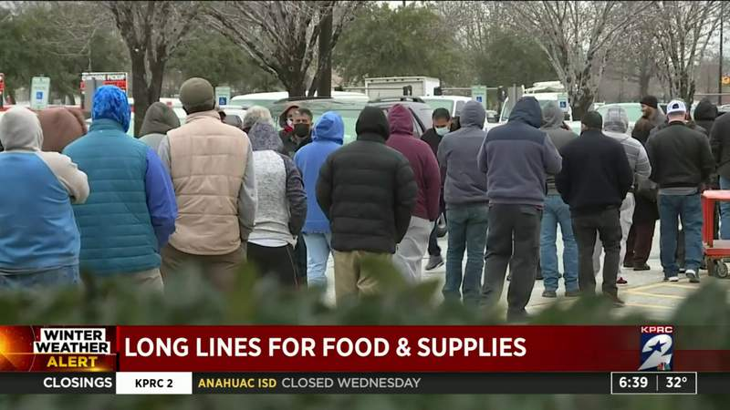Long lines for food & supplies