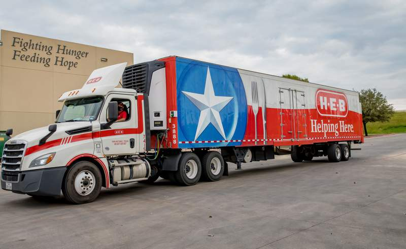 H-E-B truck delivers food to food banks across Texas. Courtesy: H-E-B