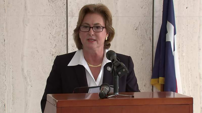 Harris County District Attorney Kim Ogg announces new felony charges against six former Houston police narcotics officers in connection to the botched Harding Street raid on July 1, 2020.
