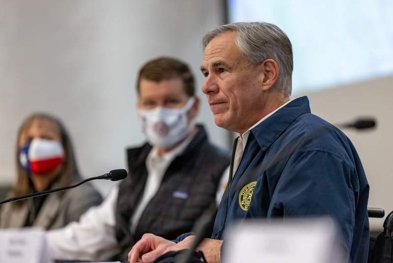 Gov. Greg Abbott speaks at a press conference regarding Texas emergency response to an unprecedented winter storm gripping Texas on Feb. 13, 2021.