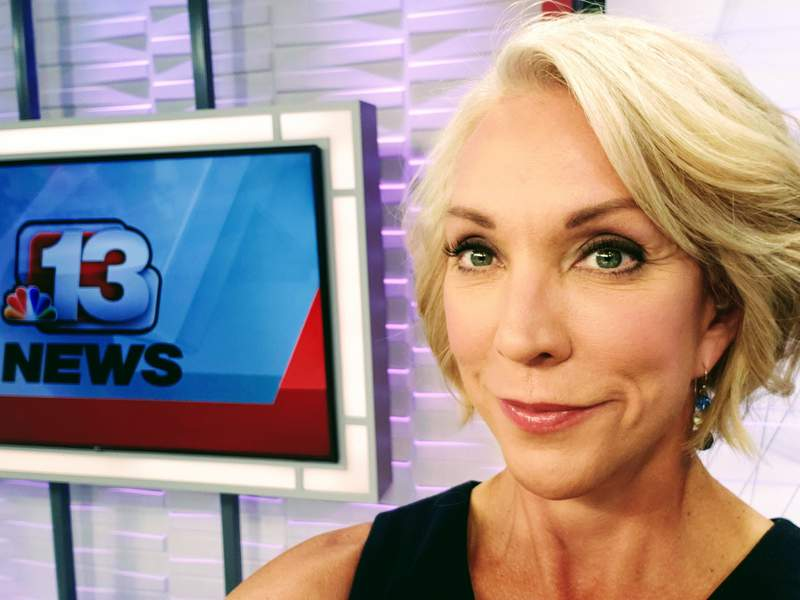 Sonya Heitshusen is pictured on July 29, 2020, in Des Moines, Iowa, on one of her last days as a reporter and anchor for WHO-TV, an NBC affiliate. Heitshusen, 54, filed a lawsuit on Tuesday, Aug. 24, 2021, against the station's parent company, Nexstar Media Group, Inc., alleging she was removed from the air because of her age and gender. (Photo courtesy Sonya Heitshusen via AP)