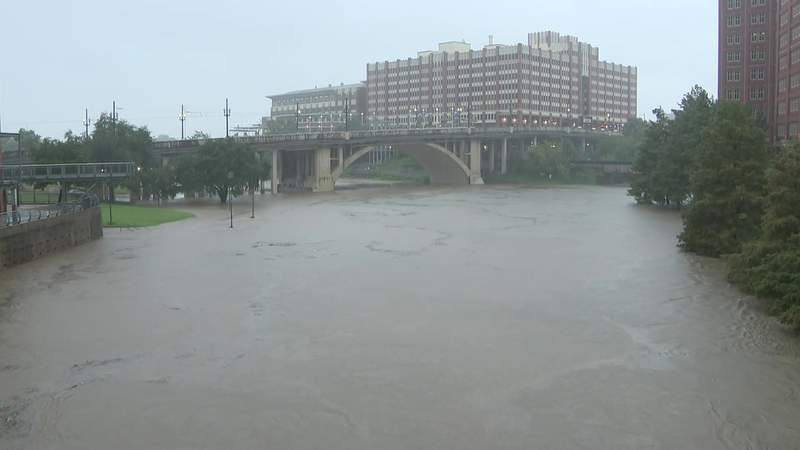 An elevated Buffalo Bayou is seen in downtown Houston during Tropical Storm beta on Sept. 22, 2020.