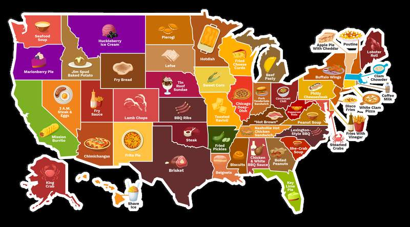 Map of the states' favorite food