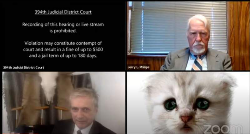 Photo of virtual court proceedings in the 394th Judicial District Court of Brewster, Culberson, Hudspeth, Jeff Davis and Presidio Counties, Judge Roy Ferguson presiding.