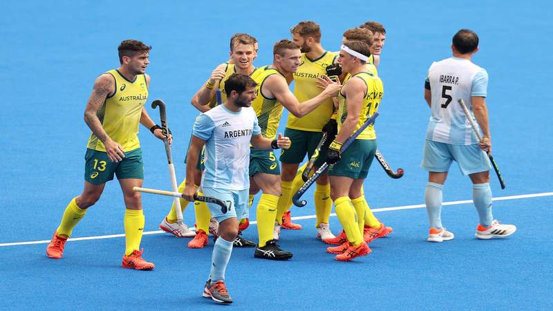 TOKYO, JAPAN - JULY 27: Blake Govers and Tom Joseph Wickham of Team Australia celebrate scoring their fourth goal with teammates during the Men's Preliminary Pool A match between Australia and Argentina on day four of the Tokyo 2020 Olympic Games at Oi Hockey Stadium on July 27, 2021 in Tokyo, Japan.