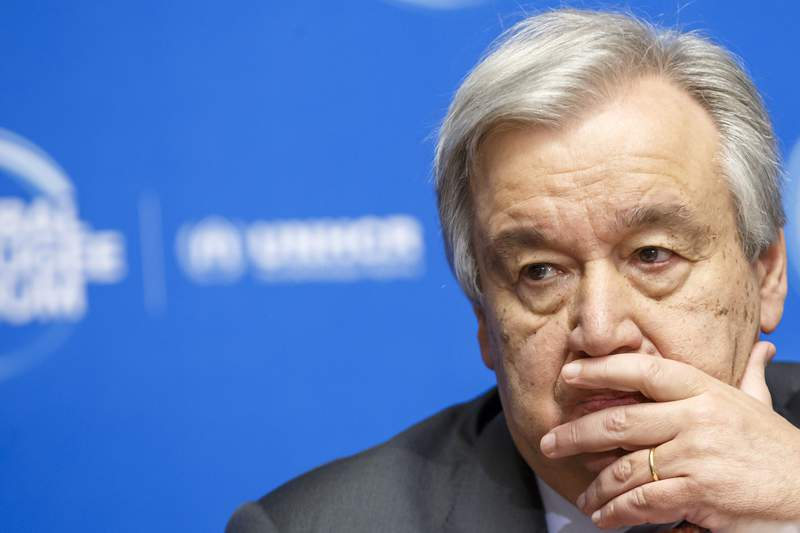 FILE - In this Dec. 17, 2019 file photo, U.N. Secretary-General Antonio Guterres attends the UNHCR - Global Refugee Forum at the European headquarters of the United Nations in Geneva, Switzerland. When financial markets collapsed and the world faced its last great crisis in 2008, major powers worked together to restore the global economy, but the COVID-19 pandemic has been striking for the opposite response. The financial crisis gave birth to the leaders summit of the Group of 20, the worlds richest countries responsible for 80% of the global economy. But when Guterres proposed ahead of their summit in late March that G-20 leaders adopt a wartime plan and cooperate on the global response to suppress the virus, there was no response (Salvatore Di Nolfi/Keystone via AP, File)