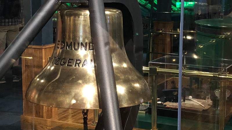 The bell of the Edmund Fitzgerald on display at the Great Lakes Shipwreck Museum in Paradise, Michigan. The bell was recovered in 1995 at the request of family members of the victims as a way to have closure from the tragedy in 1975. Photo by Keith Dunlap.