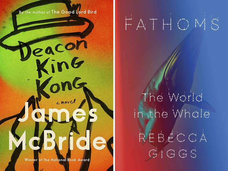 """This combination image shows """"Deacon King Kong"""" by James McBride, left, and """"Fathoms: The World in the Whale"""" by Rebecca Giggs. The American Library Association has announced its winners of the Carnegie medals for literary excellence, awarding McBride in the fiction category and Giggs in nonfiction. (Riverhead Books, left, and Simon & Schuster via AP)"""