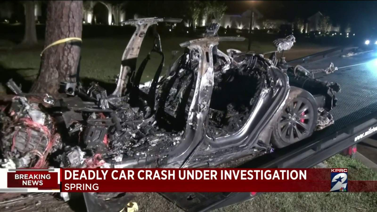 'No one was driving the car': 2 men dead after fiery Tesla crash in Spring, officials say