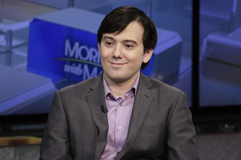 FILE - In this Aug. 15, 2017 photo, Martin Shkreli is interviewed on the Fox Business Network in New York. A judge rejected the request of the convicted pharmaceutical executive to be let out of prison to research a coronavirus treatment, noting that probation officials viewed that claim as the type of delusional self-aggrandizing behavior that led to his conviction.  (AP Photo/Richard Drew, File)