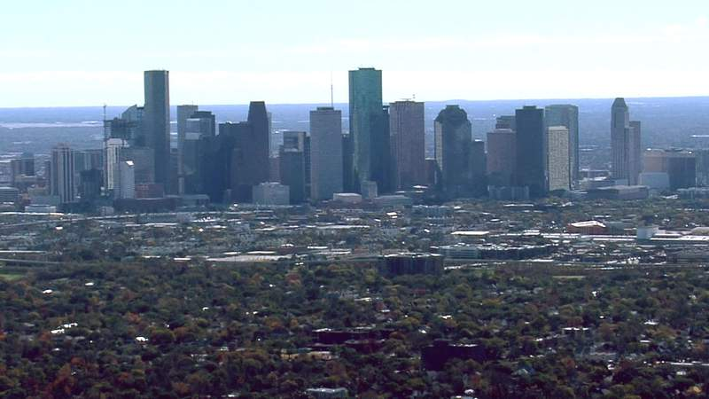 The skyline of downtown Houston is seen from the air on Dec. 24, 2020.