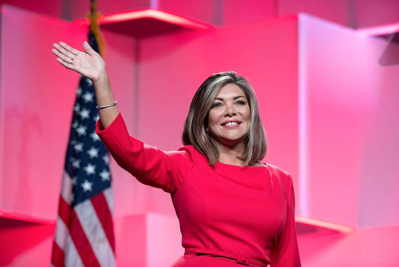 Texas Supreme Court Justice Eva Guzman at the Texas Republican Convention at the Henry B. Gonzales Convention Center in San Antonio on June 14, 2018.