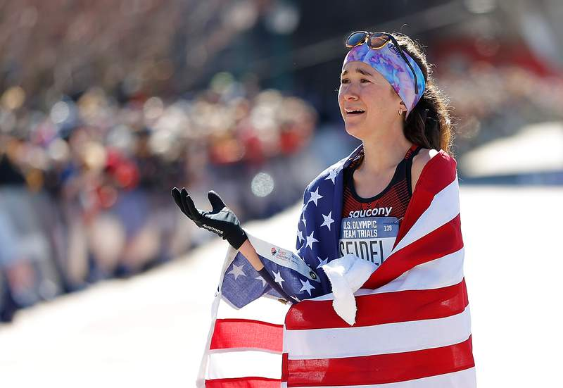 ATLANTA, GEORGIA - FEBRUARY 29:  Molly Seidel reacts after finishing second in the Women's U.S. Olympic marathon team trials on February 29, 2020 in Atlanta, Georgia. (Photo by Kevin C. Cox/Getty Images)