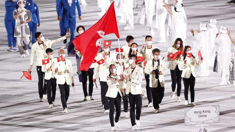 Olympic delegation of Hong Kong of China parades into the Olympic Stadium during the opening ceremony of Tokyo 2020 Olympic Games in Tokyo, Japan, July 23, 2021