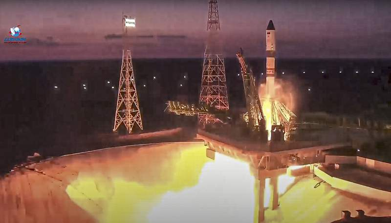 In this image taken from video provided by Roscosmos Space Agency Press Service, a Soyuz rocket with the Progress MS-17 cargo blasts off from the launch pad at Russia's space facility in Baikonur, Kazakhstan, Wednesday, June 30, 2021. The uncrewed Russian cargo ship has blasted off on a mission to deliver supplies to the International Space Station. (Roscosmos Space Agency Press Service photo via AP)