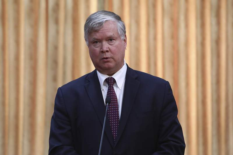 U.S. Deputy Secretary of State Stephen Biegun speaks during a news briefing after meeting with South Korea's First Vice Foreign Minister Cho Sei-young at the foreign ministry in Seoul Wednesday, July 8, 2020. Biegun is in Seoul to hold talks with South Korean officials about allied cooperation on issues including North Korea. (Chung Sung-jun/Pool Photo via AP)