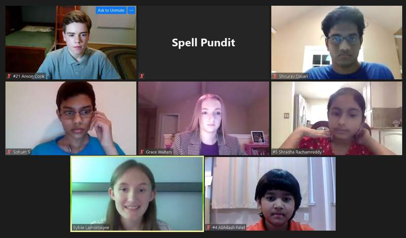In this screenshot provided by SpellPundit, spellers and organizers of the SpellPundit Online National Spelling Bee participate in semifinals Tuesday night, May 26, 2020. The bee was launched after the Scripps National Spelling Bee was canceled because of the coronavirus pandemic. (SpellPundit via AP)