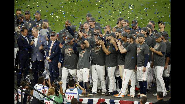 HOUSTON, TEXAS - OCTOBER 21:  The Houston Astros celebrate after defeating the New York Yankees by a score of 4-0 to win Game Seven of the American League Championship Series at Minute Maid Park on October 21, 2017 in Houston, Texas. The Houston Astros advance to face the Los Angeles Dodgers in the World Series.(Photo by Bob Levey/Getty Images)