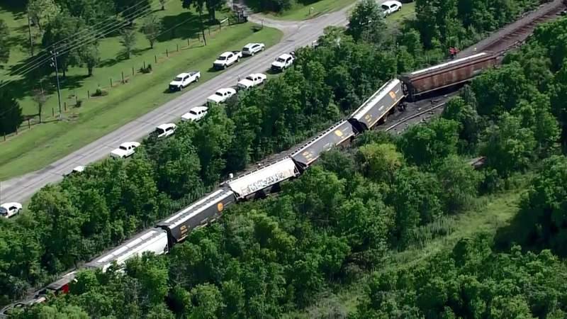 Sky2 over train derailment in Crosby