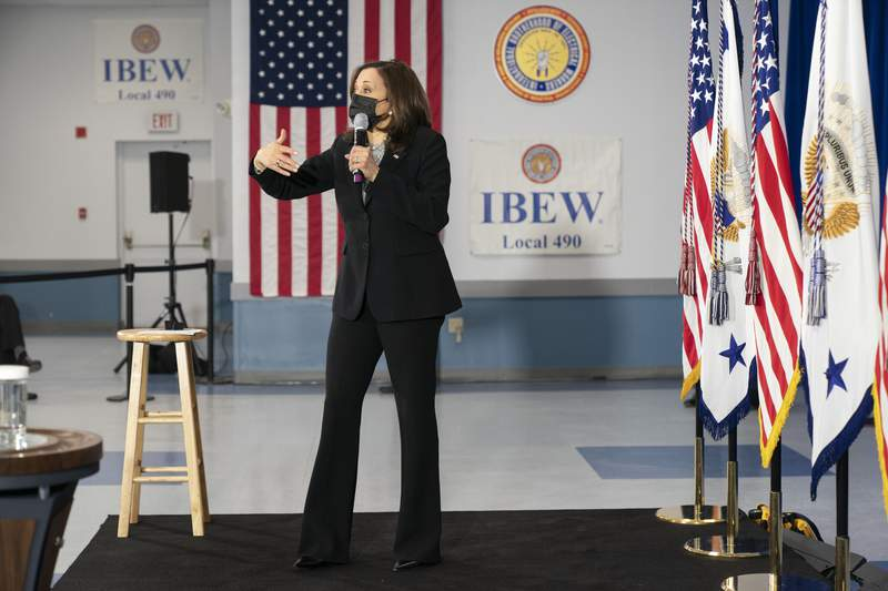 Vice President Kamala Harris speaks at the IBEW Training Center in Concord, N.H., Friday, April 23, 2021. (AP Photo/Jacquelyn Martin)