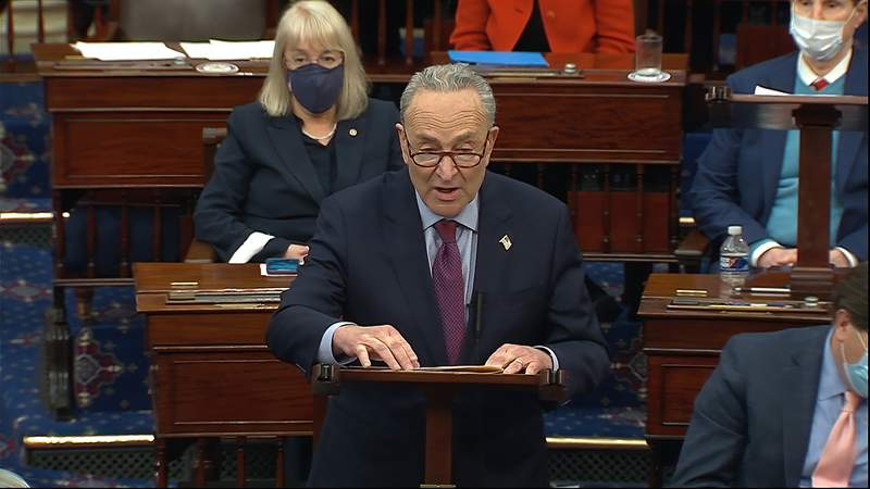 FILE - In this image from video, Senate Majority Leader Chuck Schumer of N.Y., speaks before the final vote on the Senate version of the COVID-19 relief bill in the Senate at the U.S. Capitol in Washington, Saturday, March 6, 2021.  The $1.9 trillion federal pandemic relief package is expected to make its way through the House and hit President Joe Bidens desk soon. It includes plans for direct payments to most Americans, aid to small businesses, financial help for schools and much more to help the country recover from the financial ravages of the pandemic. (Senate Television via AP, File)