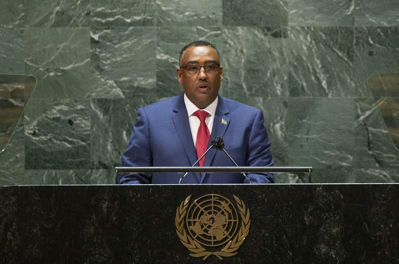 """FILE - In this Saturday, Sept. 25, 2021 file photo, Ethiopia's Deputy Prime Minister and Minister of Foreign Affairs Demeke Mekonnen Hassen addresses the 76th session of the United Nations General Assembly at U.N. headquarters. Ethiopia's foreign ministry said in a statement Thursday, Sept. 30, 2021 that it is kicking out seven United Nations officials and accuses them of """"meddling in the internal affairs of the country,"""" as pressure grows on the government over its deadly blockade of its Tigray region. (Kena Betancur/Pool Photo via AP, File)"""