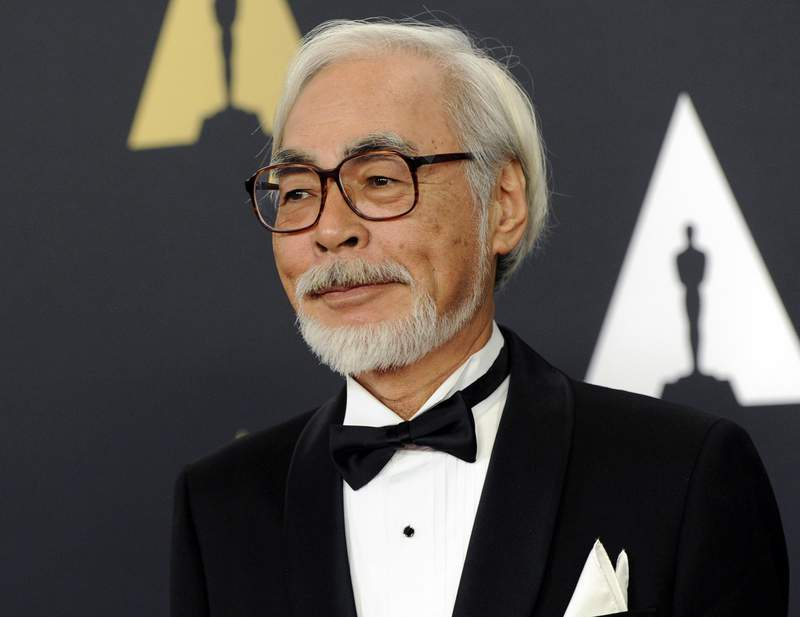 "FILE - Hayao Miyazaki arrives at the 6th annual Governors Awards in Los Angeles on Nov. 8, 2014. The Academy of Motion Pictures announced a temporary exhibition ""Hayao Miyazaki"" with over 300 objects exploring each of Miyazaki's animated films. The exhibition will open on April 30, 2021. (Photo by Chris Pizzello/Invision/AP, File)"